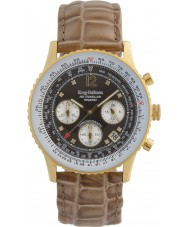 Krug-Baumen 400213DS viajero aéreo de diamantes Brown Dial correa de color marrón